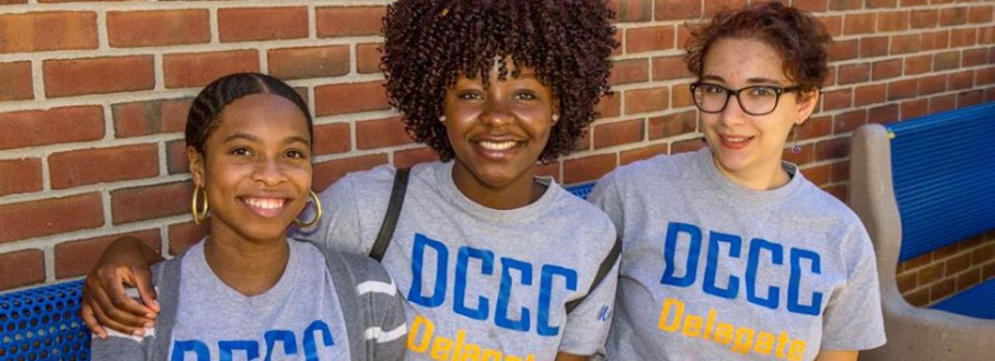 Student volunteers (from left to right) Sarai Austin, Morna Iyobhebhe, Juliana LoMonaco. Photo courtesy of DCCC