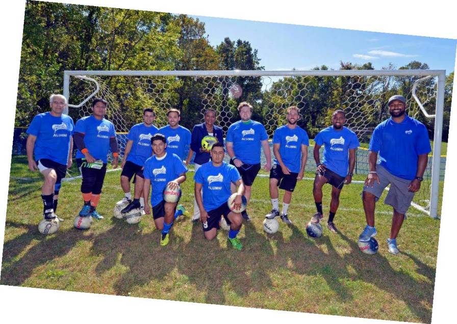 Alumni soccer game on Sept. 23 with Director of Wellness, Athletics & Recreation Suni Blackwell alongside head coach Ryan Griffith, asst. coaches Luigi Raimono and Steve Weatherby. Photo courtesy of DCCC