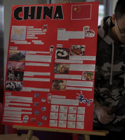 An infoboard displays fun facts and general knowledge about China.